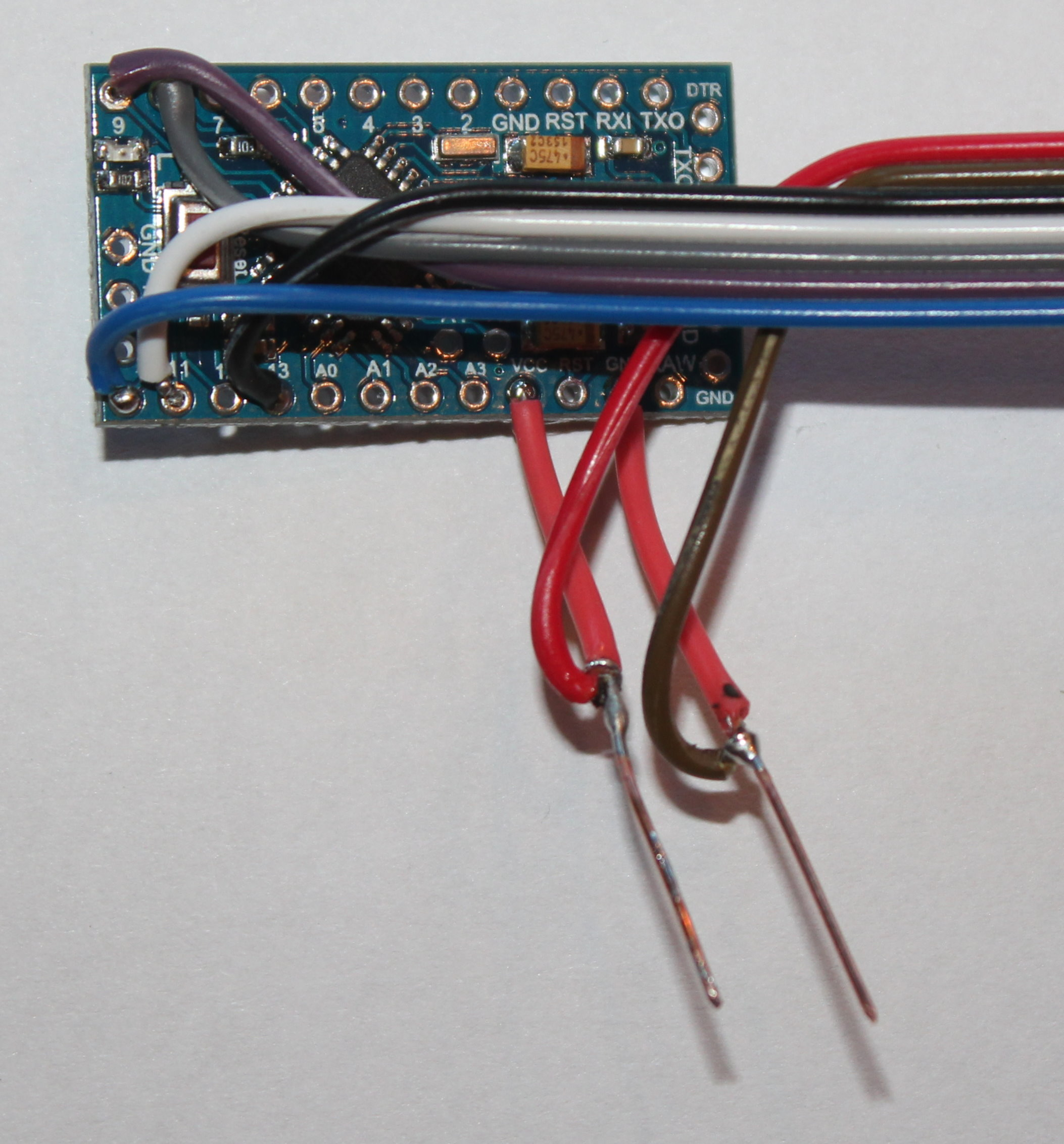 Closeup of LCD wires at Arduino