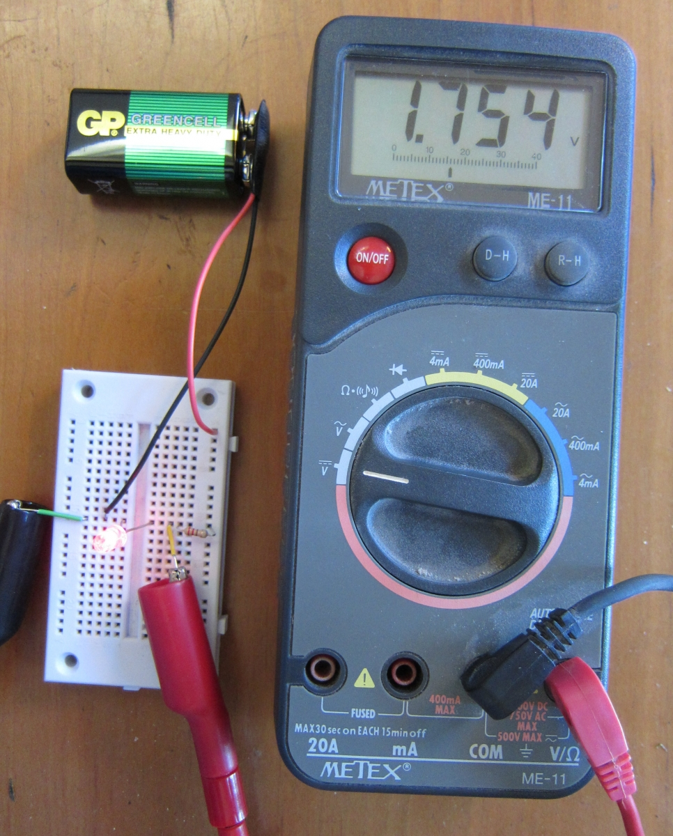Creating Light Electronics For Artists Voltage Leds Resistor Calculator Projects Circuits In The Photo Above We Have Connected Meter Leads To Of Led Our Circuit And Switched Read Volts